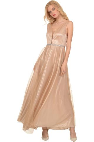 Bellino,  Φόρεμα cocktail με top από τούλι lurex (ΧΡΥΣΟ, XL)
