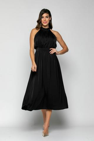 Bellino,  Φόρεμα midi με παρτούς ώμους και σούρες στο στήθος και στη μέση (ΜΑΥΡΟ, S)