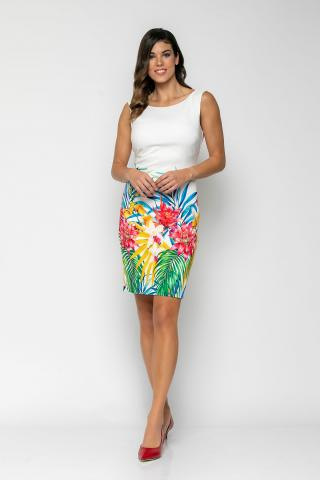Bellino,  Φόρεμα αμάνικο σε στενή γραμμή με μπορντούρα λουλούδια (ΕΚΡΟΥ, S)