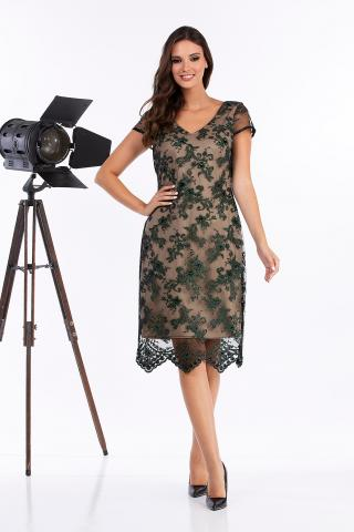 Bellino,  Φόρεμα midi σε τούλι κεντημένο (ΠΡΑΣΙΝΟ, M)