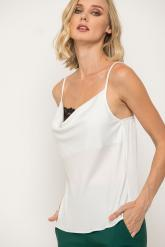 Bellino,  Μπλούζα top σατέν ντραπέ με δαντέλα εμπρός (ΕΚΡΟΥ, L)