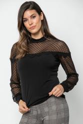 Bellino,  Μπλούζα ελαστική με λεπτομέρειες από τούλι και δαντέλα (ΜΑΥΡΟ, L)