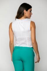 Bellino,  Μπλούζα βαμβακερό με θηλυκό ντεκολτέ και κουμπιά (ΛΕΥΚΟ, L)