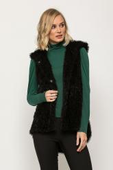 Bellino,  Ζακέτα - γιλέκο γούνινο με κουκούλα σε ριχτή γραμμή (ΜΑΥΡΟ, L)