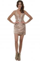 Bellino,  Φόρεμα mini με θηλυκό ντεκολτέ και ανοιχτή πλάτη (ΜΠΡΟΝΖΕ, L)