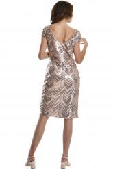 Bellino,  Φόρεμα midi παγιέτα σε στενή γραμμή (ΜΠΡΟΝΖΕ, L)