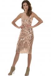 Bellino,  Φόρεμα midi σε παγιέτα κεντημένη σε τούλι (ΜΠΡΟΝΖΕ, L)