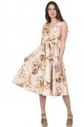 Bellino,  Φόρεμα midi σε καπαρντίνα σατέν εμπριμέ (ΚΕΡΑΜΙΔΙ, L)