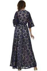 Bellino,  Φόρεμα κρουαζέ σε δαντέλα με καμπάνα μανίκι (ΜΠΛΕ, L)