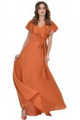 Bellino,  Φόρεμα maxi κρουαζέ εμπρός (ΚΕΡΑΜΙΔΙ, L)