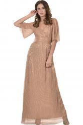 Bellino,  Φόρεμα lurex κρουαζέ με φαρδύ μανίκι (ΜΠΡΟΝΖΕ, L)