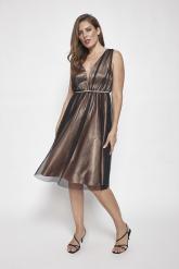 Bellino,  Φόρεμα midi σε τούλι με δαντέλα στη μέση (ΧΡΥΣΟ, L)