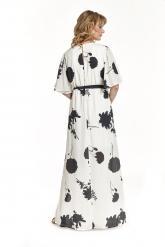 Bellino,  Φόρεμα maxi κρουαζέ με φαρδύ μανίκι και ανοίγματα στο πλάι (ΜΑΥΡΟ, L)