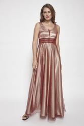 Bellino,  Φόρεμα σε τούλι lurex με ανοιχτή πλάτη (ΜΠΟΡΝΤΟ, L)