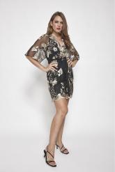 Bellino,  Φόρεμα mini σε τούλι κεντημένο σε άνετη γραμμή (ΜΑΥΡΟ, L)