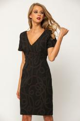 Bellino,  Φόρεμα μπροκάρ κρουαζέ με κόψιμο στη μέση (ΜΠΟΡΝΤΟ, L)