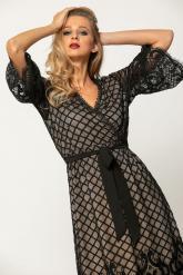 Bellino,  Φόρεμα cocktail midi κρουαζέ δαντέλα με δέσιμο στη μέση (ΜΑΥΡΟ, L)