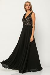 Bellino,  Φόρεμα cocktail maxi σε τούλι κεντημένο (ΜΑΥΡΟ, L)
