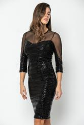Bellino,  Φόρεμα midi με λεπτομέρειες από τούλι (ΜΑΥΡΟ, L)
