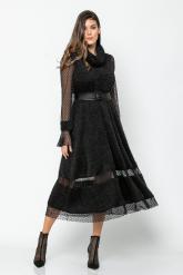Bellino,  Φόρεμα midi πλεκτό με διαφάνειες από τούλι καρδιά (ΜΑΥΡΟ, L)