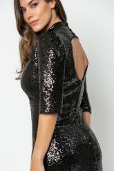 Bellino,  Φόρεμα mini ζιβάγκο σε παγιέτα με ανοιχτή πλάτη (ΜΑΥΡΟ, L)