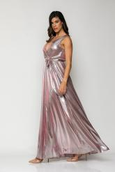 Bellino,  Φόρεμα μεταλλιζέ κρουαζέ σε άλφα γραμμή (ΡΟΖ, L)
