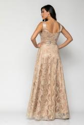 Bellino,  Φόρεμα cocktail maxi σε δαντέλα με σατέν εσωτερικά (ΜΠΡΟΝΖΕ, L)