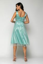 Bellino,  Φόρεμα cocktail midi σε τούλι πουά lurex με θηλυκό ντεκολτέ (ΒΕΡΑΜΑΝ, L)