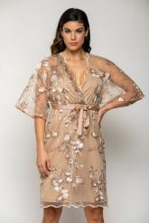 Bellino,  Φόρεμα mini σε τούλι κεντημένο με παγιέτα σε άνετη γραμμή (ΧΡΥΣΟ, L)