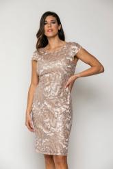 Bellino,  Φόρεμα midi σε τούλι κεντημένο με παγιέτα και ανοιχτή πλάτη (ΣΟΜΟΝ, L)