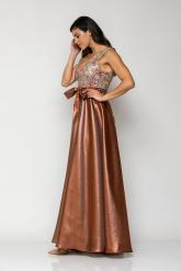 Bellino,  Φόρεμα cocktail maxi σε ταφτά με μπούστο κεντημένο από παγιέτα (ΜΠΡΟΝΖΕ, L)