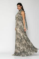 Bellino,  Φόρεμα maxi με παρτούς ώμους, δέσιμο στο λαιμό και άνοιγμα στην πλάτη (ΜΑΥΡΟ, L)