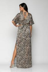 Bellino,  Φόρεμα maxi κρουαζέ με ανοίγματα στο πλάι (ΜΑΥΡΟ, L)