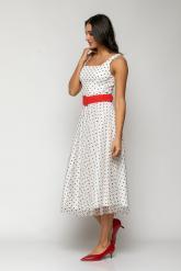 Bellino,  Φόρεμα midi σε τούλι πουά και extra ζώνη (ΕΚΡΟΥ, L)