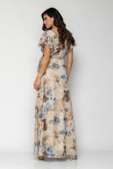 Bellino,  Φόρεμα κρουαζέ εμπριμέ σε ζορζέτα με χρυσές λεπτομέρειες (ΜΠΕΖ, L)