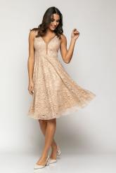 Bellino,  Φόρεμα cocktail midi σε lurex δαντέλα με θηλυκό ντεκολτέ (ΜΠΕΖ, L)