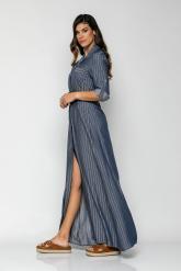 Bellino,  Φόρεμα σεμιζέ με extra ζώνη δερμάτινη και μανίκια μακριά (ΙΝΤΙΓΚΟ, L)
