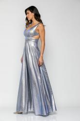 Bellino,  Φόρεμα μεταλλιζέ με cups στο στήθος και πλάτη V με τούλι (ΣΙΕΛ, L)