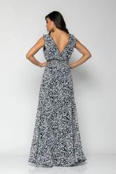 Bellino,  Φόρεμα κρουαζέ με βολάν λεπτομέρειες και σφηκοφωλιά στη μέση (ΜΠΛΕ, L)