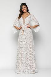 Bellino,  Φόρεμα καφτάνι από ανάγλυφη δαντέλα, τρέσα εμπρός παγιέτα (ΕΚΡΟΥ, L)