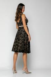 Bellino,  Φόρεμα cocktail midi σε δαντέλα με ανοιχτή πλάτη και extra ζώνη (ΜΑΥΡΟ, L)