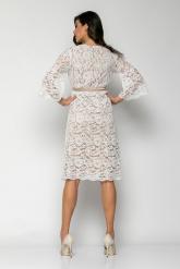 Bellino,  Φόρεμα cocktail midi κρουαζέ σε δαντέλα με extra ζώνη (ΕΚΡΟΥ, L)