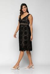Bellino,  Φόρεμα midi από δαντέλα με ωραίο θηλυκό  V εμπρός (ΜΑΥΡΟ, L)