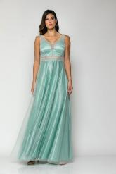 Bellino,  Φόρεμα σε τούλι glitter closs  με θηλυκό  V ντεκολτέ (ΒΕΡΑΜΑΝ, L)