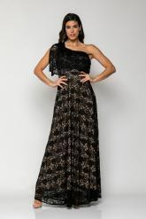 Bellino,  Φόρεμα δαντέλα με έναν ώμο και ελαστικότητα στη μέση (ΜΑΥΡΟ, L)