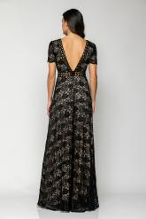 Bellino,  Φόρεμα δαντέλα με τρέσα ανάγλυφη εμπρός και στη μέση (ΜΑΥΡΟ, L)