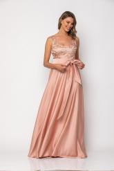 Bellino,  Φόρεμα αμπιγιέ με μπούστο από τούλι κεντημένο (ΣΑΠΙΟ ΜΗΛΟ, L)