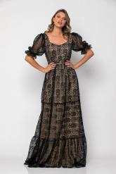 Bellino,  Φόρεμα σε δαντέλα με θηλυκό μπούστο (ΜΑΥΡΟ, L)