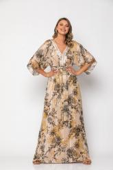 Bellino,  Φόρεμα σε άνετη γραμμή με κέντημα στο ντεκολτέ και ανοιχτή πλάτη (ΧΡΥΣΟ, L)