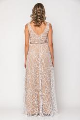 Bellino,  Φόρεμα cocktail maxi με κέντημα στη μέση από παγιέτα (ΕΚΡΟΥ, L)